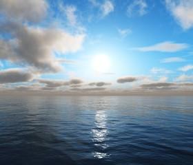 beautiful sea sunset, magnificent oceanic sunrise, 3D rendering