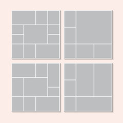 Templates collage frames for photo or illustration. Montage photo frame template. Vector Mood Board Branding Presentation. MoodBoard, Logo Template, Collage Frames with Universal Colour Palette.