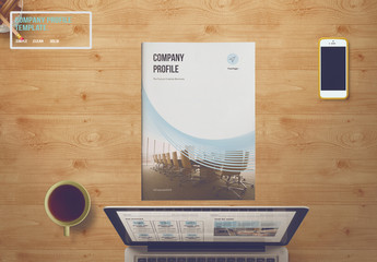 Brochure Layout with Blue Wave Design