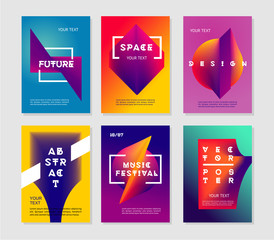 Minimalist abstract posters set with vibrant gradient. Futuristic vector background collection.