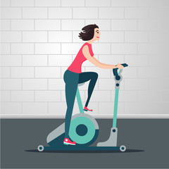 Stationary bicycle. Young woman is cycling on a exercise bike. Indoor exercise cartoon flat illustration. Sport people vector clipart.