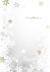Christmas light background with golden and white snowflakes and Merry Christmas text - light version