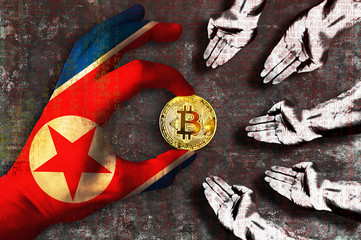 Bitcoin cryptocurrency North Korea flag Golden Coin of Bitcoin in the Northern Korean flag hand giving coin in to hands of poor people Grunge background with binary code of matrix effect