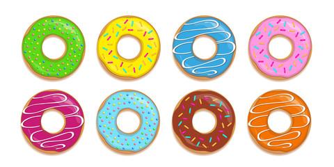 bunte donuts mit verschiedenen toppings 8er Set