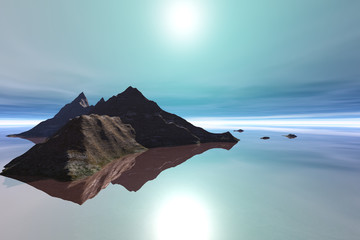 Island, a tropical landscape, reflection in the sea and a bright sun in the sky.