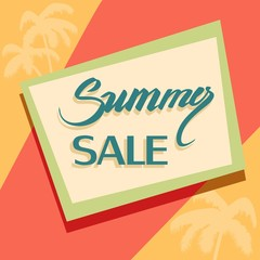 summer sale sign on an abstract background