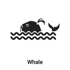 Whale icon vector sign and symbol isolated on white background, Whale logo concept