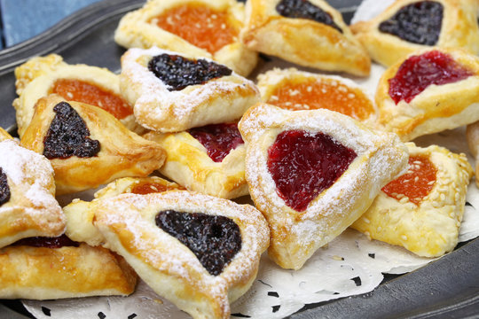 homemade hamantaschen cookies for happy Purim jewish holiday party
