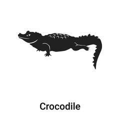 Crocodile icon vector sign and symbol isolated on white background, Crocodile logo concept