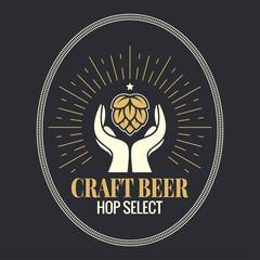 beer hop in hands vintage logo on black background