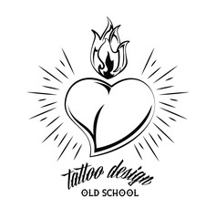 Old school heart with flamme tattoo drawing design vector illustration graphic