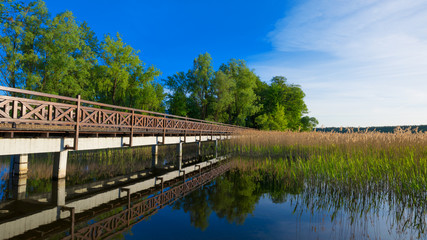 Sqirrel path in Olecko -  route around the Olecko Wielkie Lake. View from the lake. Masuria, Poland.