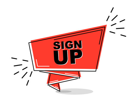 red flat line banner sign up