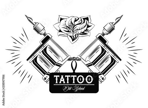 Old school tattoo machine drawing design vector illustration graphic ...