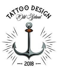 Old school tattoo marine anchor drawing design vector illustration graphic