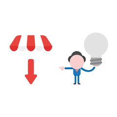 Vector illustration businessman character holding gray light bulb, bad idea and pointing shop store awning with arrow down