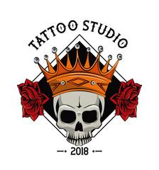 Old school tattoo devil skull drawing design vector illustration graphic