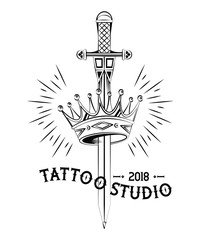 Old school tattoo sword and crown drawing design vector illustration graphic