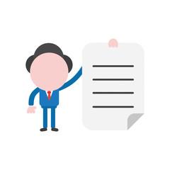 Vector illustration businessman character holding written paper
