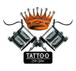 Old school tattoo machines and crown drawing design vector illustration graphic