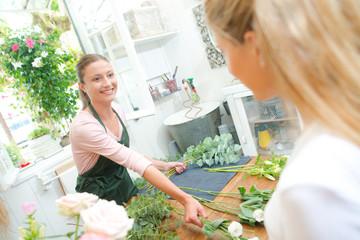 Florist arranging a bouquet