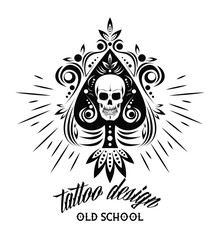 Old school tattoo skull drawing design vector illustration graphic