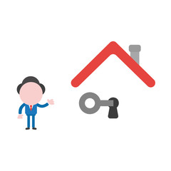 Vector illustration businessman character unlock keyhole under house roof with key