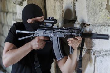 The Kalashnikov assault rifle with red-dot sight