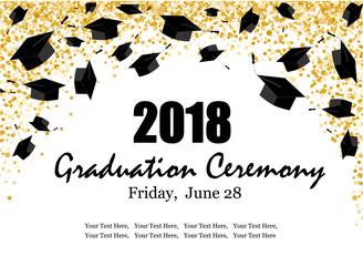 Graduate caps and the gold confetti banner