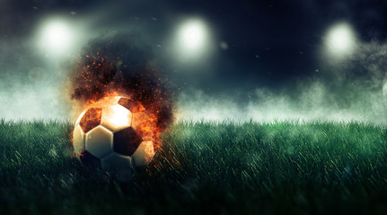 Soccer ball with fire effect