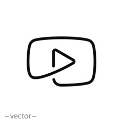 play icon, button video player line sign - vector illustration eps10