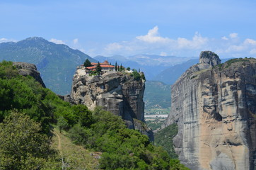 Meteora Monastery. Beautiful view on Monasteries of Meteora on the edge of high rock, Kastraki, Greece