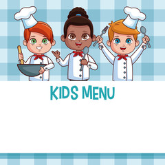 Kids menu template with cartoons vector illustration graphic design