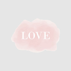 love fashion calligraphy lettering on pink watercolor cloud background. design for holiday greeting card and invitation of the wedding, Valentine's day and Happy love day.