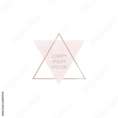 Minimalistic abstract logo from pink and gold triangles. Gentle ...