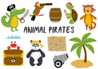 set of isolated animals pirates and other elements part 1 - vector illustration, eps