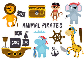 set of isolated animals pirates and other elements part 2 - vector illustration, eps