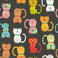 seamless pattern with colorful funny cats  - vector illustration, eps