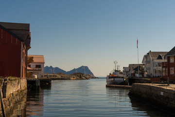 View over the harbor of Kabelvag at Lofoten Islands / Norway