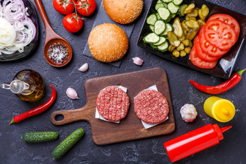 Photo on top of ingredients for hamburgers