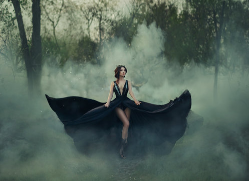 Fantasy gothic woman dark queen bare long legs walks in fog. black dress fly in different directions, like wings of raven bird. Elegant hairstyle crown. Artistic photo. Deep dark forest woods trees