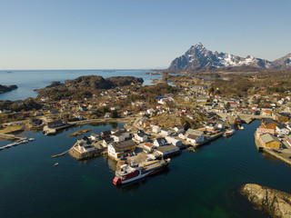 The fishing harbor of Kabelvag at Lofoten Islands / Norway from above