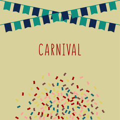 Carnival Vector illustration Poster with flags, confetti and copy space Design template in retro colors for invitation, festivals and parties