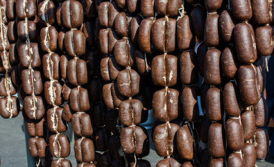 Traditional Turkish dried sausages in view
