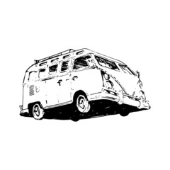 Retro Vintage Van Car illustration hand drawn fountain pen black ink in vector