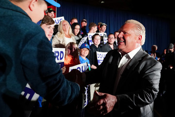 Progressive Conservative leader Ford attends a campaign event one day before the provincial election in Caledonia