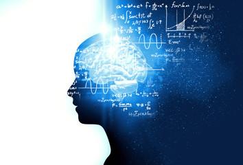 silhouette of virtual human on handwritten equations 3d illustration