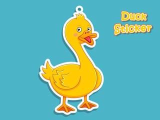 Cute Cartoon Duck Sticker. Vector Illustration. With Cartoon Style Funny Animal.