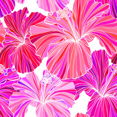 Beautiful seamless floral jungle pattern background. Tropical flowers bright color background. Hibiscus flower realistic vector repeatable design.