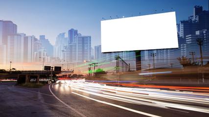 billboard blank for outdoor advertising poster or blank billboard at night time for advertisement. street light Fotomurales
